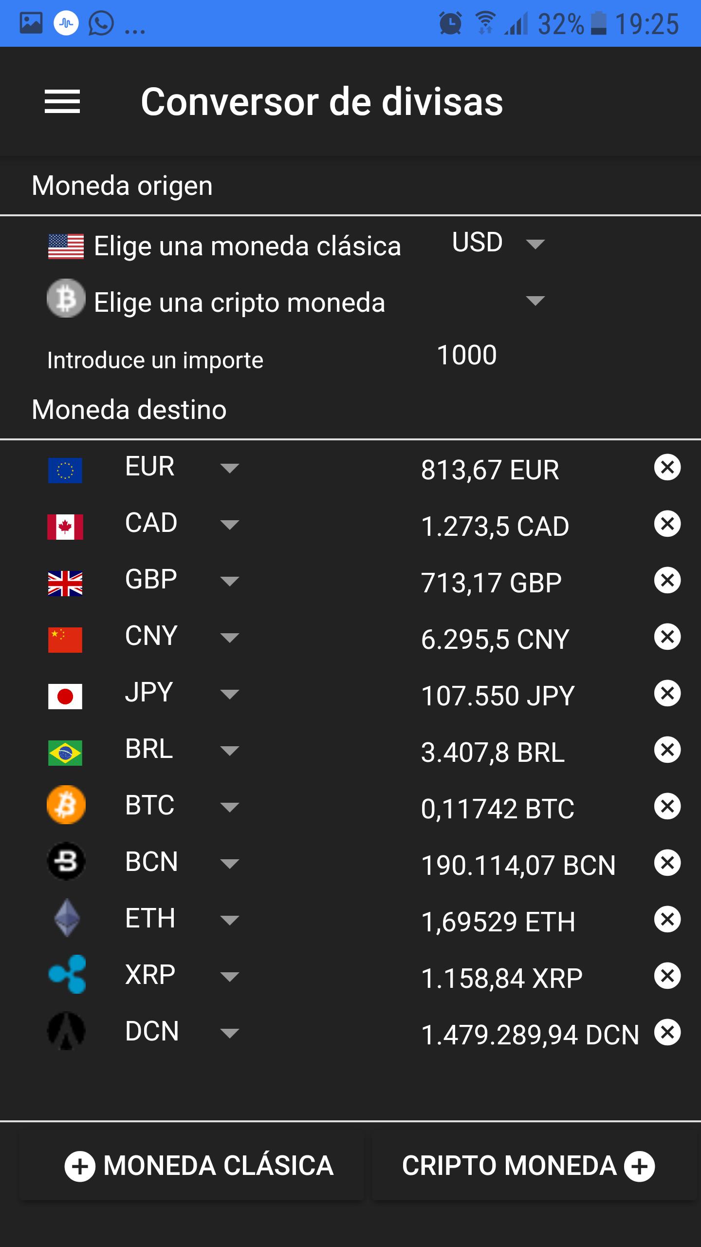 Conversor de monedas - Conversión de 1.000 dólares a seis monedas clásicas y a cinco cripto monedas, simultáneamente.